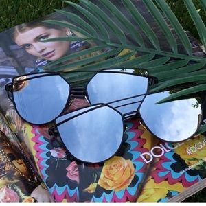Black cat eye frame mirror lens Uv sunglasses